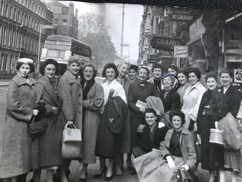 Carole Anderson - circled - Easter London 1957 on way to rehearsal at BBC Bush House Vernon Girls